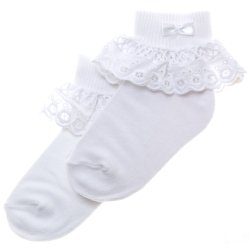 Girls White Frilly Socks with Uniquely Beautiful Lattice Lace