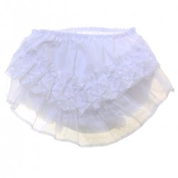 Floral Lace Rosebuds Baby Girls White Frilly Knickers