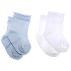 Cotton rich 2 pairs white and pale blue baby boys socks