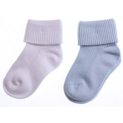 2 pairs baby boys white and pale blue socks