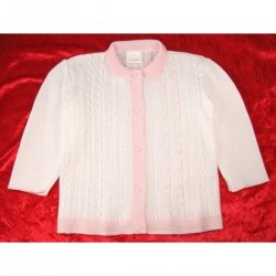 Baby girls cardigan in white with pink trims