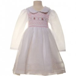 SALE White Smocking Dress with pink embroideries