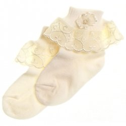 Girls ivory socks with rosette