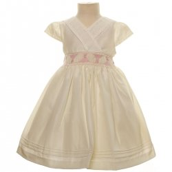 SALE Baby Girls Elagant Ivory Smocked Dress