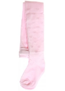 Bow pattern decorated baby girls tights in pink