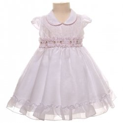 SALE Baby Girls White with Pink Roses Special Dress