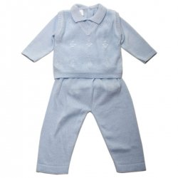 100% Cotton 3 Piece Boys Blue Christening Outfit