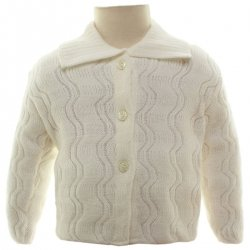 Made in England Baby Cardigan With Wave Knitted Pattern