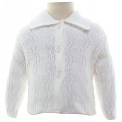 Baby White Cardigan With Wave Pattern Made in England