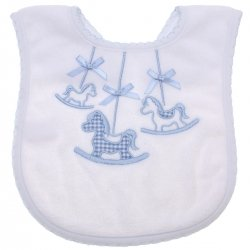 Baby White Bib With Blue Horses Decoration