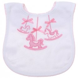 Baby Girls White Bib With Pink Horses Decoration