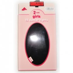 Girl black tights 2 pairs 15 denier