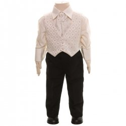 Baby Boys Ivory Waistcoat Set With Black Trousers