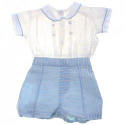 Spanish Popys Baby Boys White Shirt Blue Stripes Shorts 2 Piece Set
