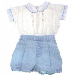 acc2ac176 Spanish Popys Baby Boys White Shirt Blue Stripes Shorts 2 Piece Set