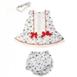 Spanish Popys Baby Girls White Blue Floral Dress Frilly Panty Headband Set
