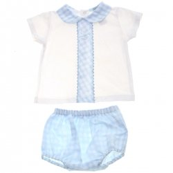 Spanish Popys Baby Boys White Blue Gingham 2 Piece Set