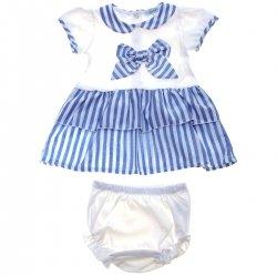 6b1448dd8 Spanish Popys Baby Girls White Blue Floral Dress Frilly Panty Headband Set