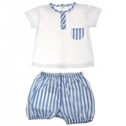 Spanish Popys Baby Boys White Top Blue Stripes Shorts Set Blue Stripes Pocket