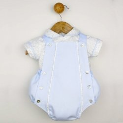 Spanish Baby Boys 2 Piece White Blue Shirt Dungarees Set For Spring Summer