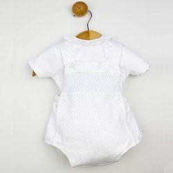Spanish Baby Boys 2 Piece White Top Blue Smocked Braces Romper Set