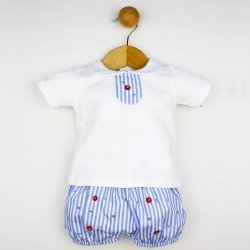 Spanish Baby Boys 2 Piece White Blue Stripes Top And Shorts Set For Spring Summer