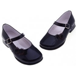 Girls navy or white patent shoes in classic Mary Janes style