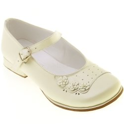 SALE Baby and Toddle Girls Ivory or White Mary Jane Shoes with 3 Leather Flowers