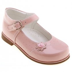 Girls classic Mary Janes Pink Patent Shoes Leather Flowers And Beads