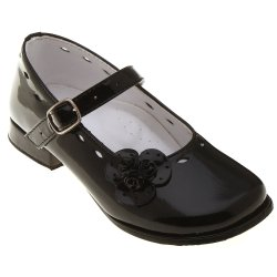 SALE Toddler Girls Black Patent Leather Mary Jane Shoes Leather Flower