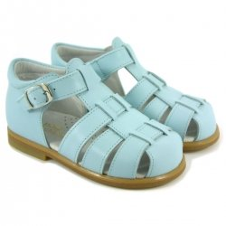 Boys Blue Roman Sandals In Patent Leather
