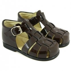 Boys Dark Brown Patent Leather Roman Sandals