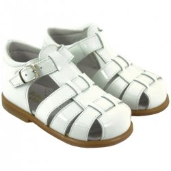 Boys White Patent Leather Roman Sandles
