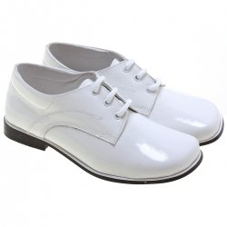 Pretty Originals Boys White Patent Leather Shoes