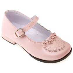 SALE Girls Pink Patent Mary Jane Shoes With Rose Buds