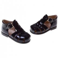 Boys Navy Patent Roman Sandals