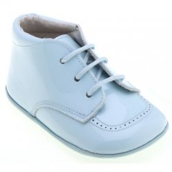 Baby Boys Blue Patent Shoes with Shoe Laces