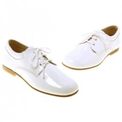 Pretty Originals Boys White Patent Shoes In Leather