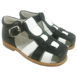 Boys Dark Navy And Patent White Roman Leather Sandals