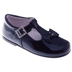T Bar Design Girls Navy Shoes With Bow