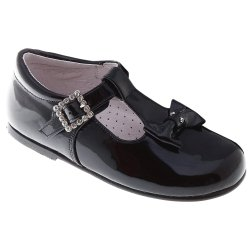 Patent Leather Bows T Bar Design Girls Black Shoes