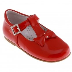 T Bar Design Girls Red Shoes With Leather Bows