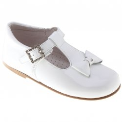 Baby And Toddler Girls White Patent Shoes With T Bar Design