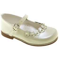 Toddlers Mary Jane Ivory Shoes With Daisy And Beads
