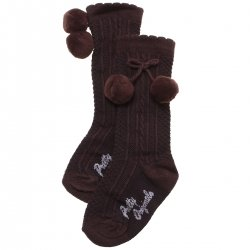 fe9616690bbe8 Pretty Originals Baby Knee High Choco Brown Pom Pom Socks Scallop Edge