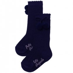 Baby Knee High Navy Pom Pom Socks Scallop Edge