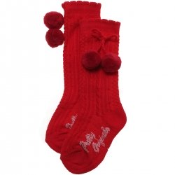 Baby Knee High Red Pom Pom Socks Scallop Edge