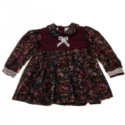 Pretty Originals Baby Girls Traditional Burgundy Floral Dress