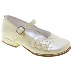 Girls Mary Jane Flowers Ivory Shoes