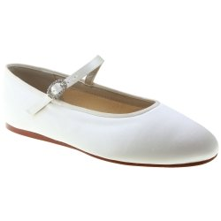 Girls White Communion Shoes Flat Heels